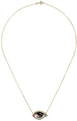 Lito 14kt yellow gold Tu Es Partout ruby, tsavorite, sapphire and diamond necklace