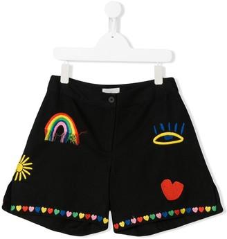 Stella McCartney TEEN rainbow applique shorts