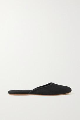 The Row Sleeper Suede Slippers - Black