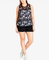 City Chic Trendy Plus Size Lace-Trimmed Floral-Print Tank Top