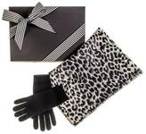 Black Leopard Print Scarf and Cashmere Gloves Gift Set