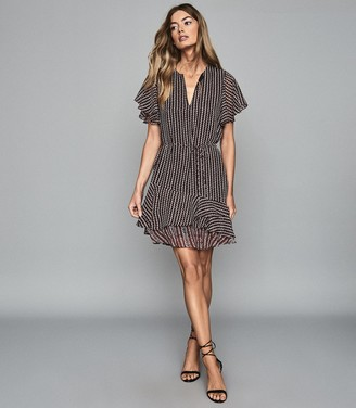 Reiss ANNA PRINTED DAY DRESS Berry