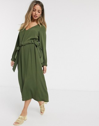 ASOS DESIGN v neck ruched waist chuck on midi dress with long sleeves in khaki