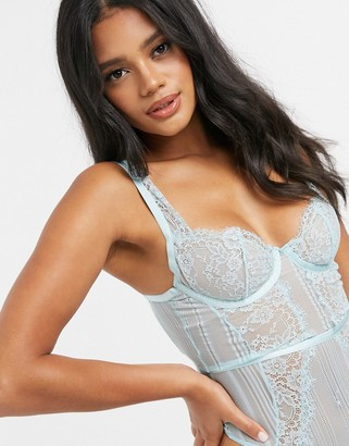 ASOS DESIGN Morgan linear lace underwire bodysuit in aqua