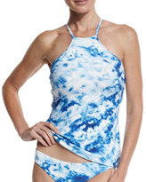 Seafolly Caribbean Ink Reversible High-Neck Tankini Swim Top, Blue/White