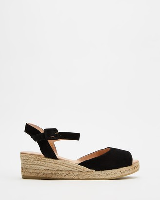 Jo Mercer - Women's Black Sandals - Cono Mid Heel Wedge Espadrilles - Size 38 at The Iconic