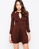 AX Paris Cold Shoulder Dress with Keyhole