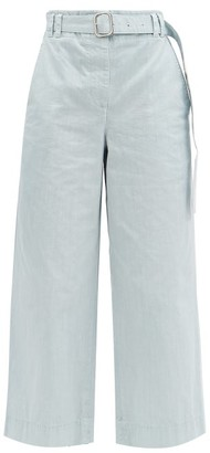 Proenza Schouler White Label Belted Cropped Cotton Wide-leg Trousers - Light Denim
