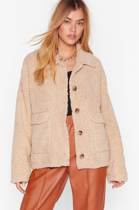 Nasty Gal Womens Get on Borg With It Faux Shearling Jacket - Stone