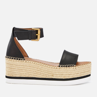 See by Chloe Women's Glyn Leather Espadrille Mid Wedge Sandals - Black