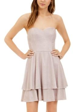 B. Darlin Juniors' Glitter-Knit Strapless Fit & Flare Dress