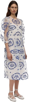 Simone Rocha Delft Embroidered Tulle Midi Dress