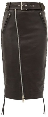Balenciaga Zip And Lace-up Leather Biker Skirt - Black