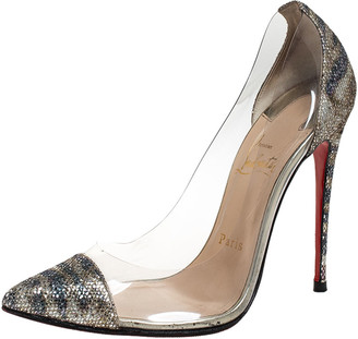 Christian Louboutin Metallic Animal Print Lame and PVC New Debout Pointed Toe Pumps Size 37.5