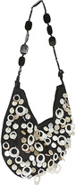 Global Elements Mother of Pearl Circles on Silk w/ Horn Shoulder Strap