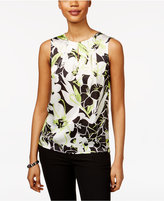 Kasper Floral-Print Pleat-Neck Shell