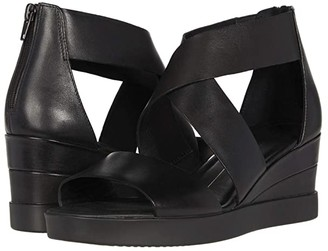 Ecco Elevate Wedge Sandal (Black Cow Leather) Women's Shoes