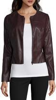 WORTHINGTON Worthington Faux Leather Peplum Blazer
