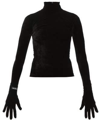 Richard Quinn High-neck Velvet Top - Womens - Black