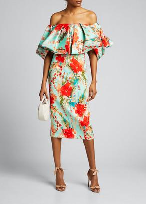 Badgley Mischka Floral Off-the-Shoulder Puff-Sleeve Sheath Dress