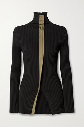 MONCLER GENIUS 2 Moncler 1952 Two-tone Ribbed Wool Turtleneck Sweater - Black