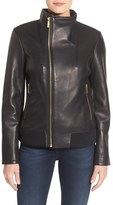 MICHAEL Michael Kors Funnel Collar Asymmetrical Zip Leather Jacket