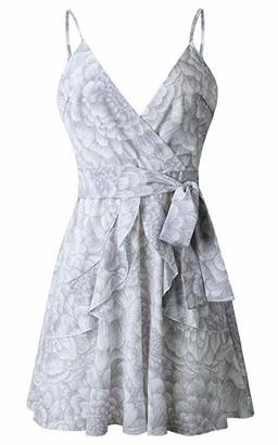 HOYMN Womens Dresses Summer Floral Print V-Neck Spaghetti Strap Mini Swing Skater Dress with Belt Sundress Grey
