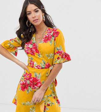 Influence Tall wrap dress with frill detail in floral print-Yellow