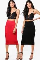 boohoo Gracie 2 Pack Basic Jersey Midi Skirt