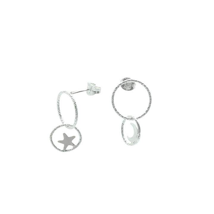 19a1808d5cb3b Lucy Ashton Jewellery Moon and Star Circle Linked Stud Earrings Sterling  Silver