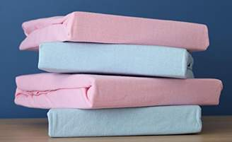 Dudu N Girlie Jersey Cotton Travel Cot Fitted Sheets, 2-Piece, Pink & Blue