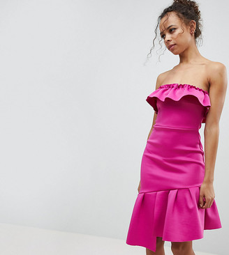 Asos Ruffle Bandeau Bodycon Dress-Pink