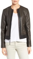 Via Spiga Women's Two-Tone Collarless Leather & Ponte Jacket