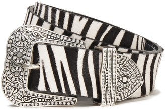 Marc Jacobs Crystal-embellished Zebra-print Calf Hair Belt
