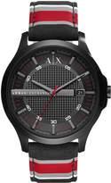 Armani Exchange Black Dial Fabric Stripe Strap Mens Watch