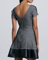 Parker Leather Trim A-Line Dress, Black/White