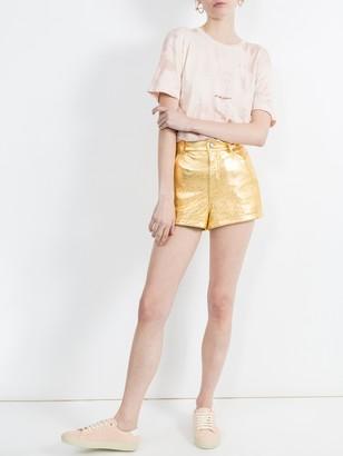 Saint Laurent Metallic Laminated Leather Shorts