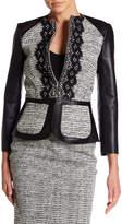 Oscar de la Renta Long Sleeve Genuine Leather & Wool Blend Jacket