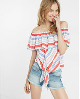 Express stripe off the shoulder tie front blouse