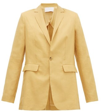 ASCENO Azores Single-breasted Linen Blazer - Dark Yellow