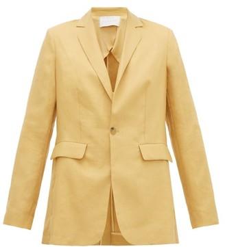 Asceno - Azores Single-breasted Linen Blazer - Womens - Dark Yellow