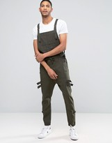Asos Drop Crotch Overalls With Strapping In Dark Khaki