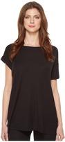 Heather Asymmetrical Sleeved Rib Box Tee Women's T Shirt
