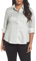 Foxcroft Print Cotton Sateen Shirt (Plus Size)