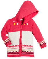 Catimini Hooded Fair Isle Knit Jacket, Fuchsia, Size 6M-3