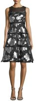 Kay Unger New York Sleeveless Tiered Metallic Floral Cocktail Dress, Black