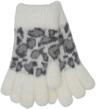 M&Co Leopard print eyelash fleece gloves