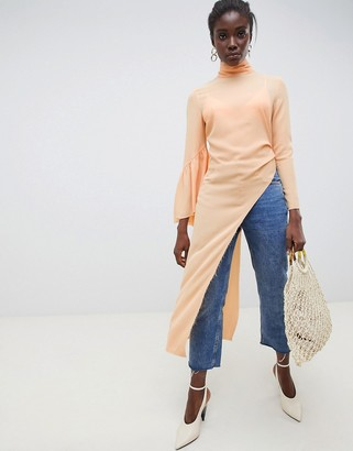 ASOS Frill Asymmetric Top With Flute Sleeves
