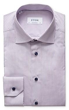 Eton Poplin Plaid Contemporary Fit Dress Shirt