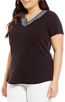 Allison Daley Plus Embellished Notch V-Neck Short Sleeve Knit Top